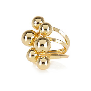 Gold tone multi ball ring