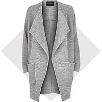 Grey draped front jersey jacket