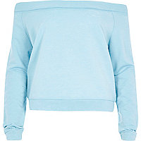 Blue burnout casual long sleeve bardot top