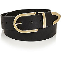 Black leather Western curved buckle belt