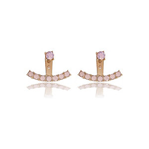 Gold tone pink crystal front back earrings
