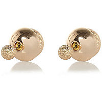 Gold tone sandblast front and back earrings