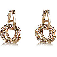 Gold tone multi hoop earrings