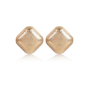 Gold tone textured square earrings