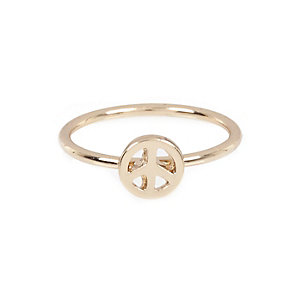 Gold tone peace midi ring