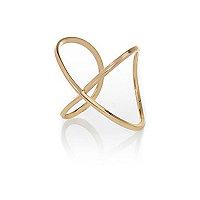 Yellow gold tone cross cuff bracelet