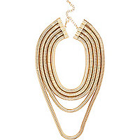 Gold tone layered snake chain necklace