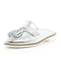 Silver leather slip on mules