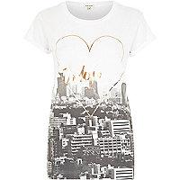 White Tokyo foil print t-shirt