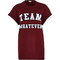 Red team whatever print oversized t-shirt
