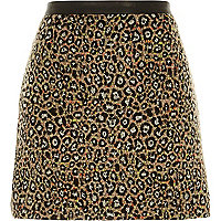 Black animal print fuzzy A-line skirt