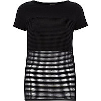 Black mesh panel open back t-shirt