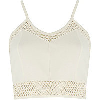 Cream mesh zip back cropped bralet