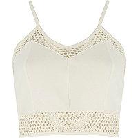 Cream mesh zip back cropped bralet
