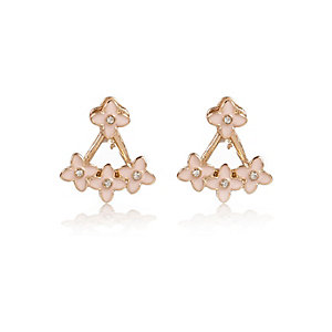 Pink pretty flower front and back earrings