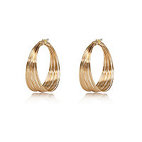 Gold tone twisted wire hoop earrings