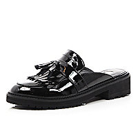 Black patent chunky slip on cleated mules