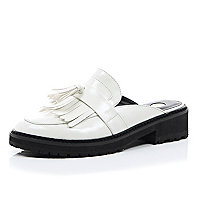 White chunky slip on cleated mules