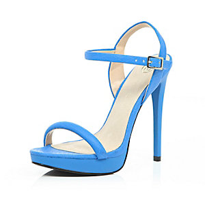 Blue snake print barely there sandals