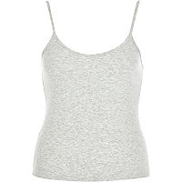 Grey marl fitted V-neck ribbed cami