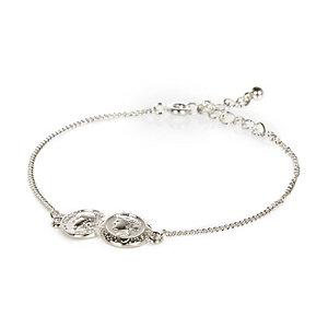 Silver tone double coin bracelet