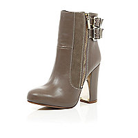 Taupe leather metal block heel ankle boots