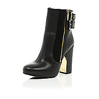 Black leather metal block heel ankle boots