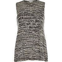 Grey love heart print tank top