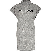 Grey whatever turtle neck oversized t-shirt