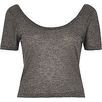 Grey ribbed scoop neck casual bardot top