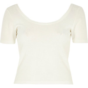 Cream ribbed scoop neck casual bardot top