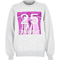 Grey 25 December print sweatshirt