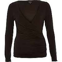 Black wrap front long sleeve top