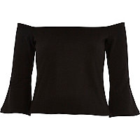 Black fluted long sleeve bardot top
