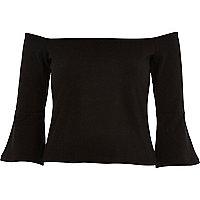 Black fluted long sleeve bardot top