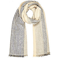 Cream stitched stripe blanket scarf