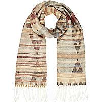 Red Aztec print blanket scarf