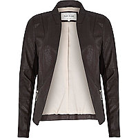 Brown leather-look fitted jacket