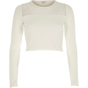 Cream mesh panel long sleeve crop top