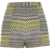 Yellow print jacquard high waist shorts