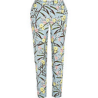 Green floral print smart cigarette pants