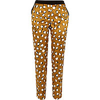 Brown animal print cigarette pants