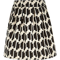 Black geometric print pleated skirt