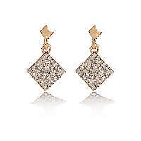 Gold tone square diamante dangle earrings