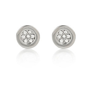 Silver tone round diamante stud earrings