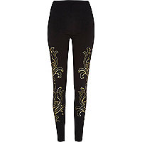 Black gold tone studded leggings