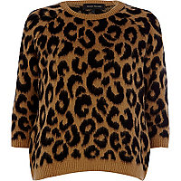 Brown brushed leopard print jumper