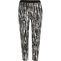 Black scratchy print cigarette pants