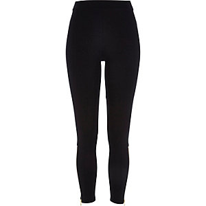Black premium zip ankle leggings