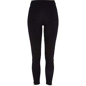 Black premium zip ankle leggings